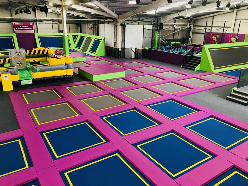 The main arena at SOAR Trampoline Park